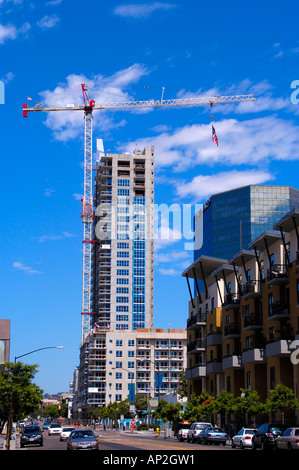 High rise building under construction Downtown San Diego California - Stock Photo