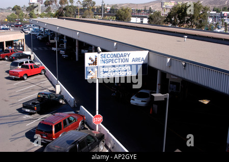 The San Ysidro Port of Entry United States secondary vehicle inspection area located between Tijuana, Mexico and - Stock Photo