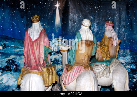 Life size nativity scene Balboa Park San Diego California - Stock Photo