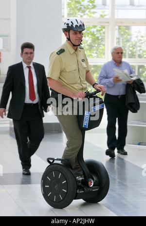 Frankfurt, Germany -  German police on a Segway personel transporter - Stock Photo