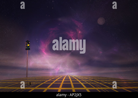 Traffic light in space. - Stock Photo