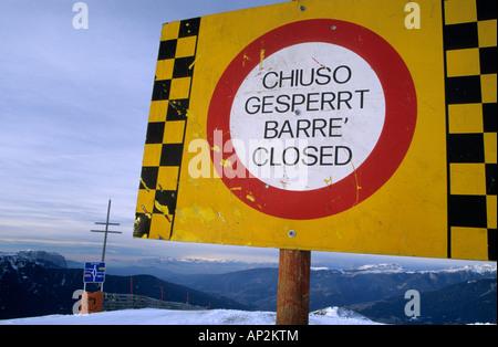 sign closed on ski piste, Plose, Dolomites, South Tyrol, Alta Badia, Italy - Stock Photo