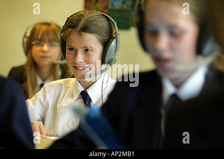 Female students enjoying French lessons at Colyton Grammar School in Devon UK - Stock Photo