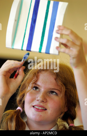 Female pupil in a design technology class at secondary school Colyton Grammar in Devon UK - Stock Photo