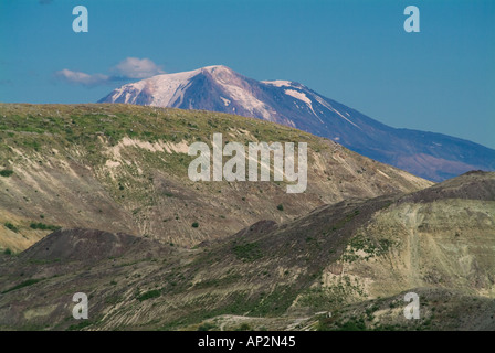 Mount Adams seen from Mount St Helens National Volcanic Monument mountain Saint MT volcano Washington State WA - Stock Photo