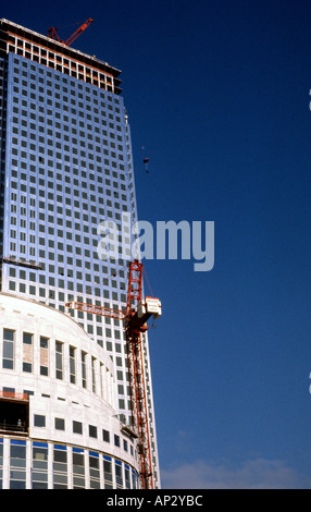 Australian Mark Scott making the first ever BASE Jump from Canary Wharf Tower Docklands London Great Britain - Stock Photo