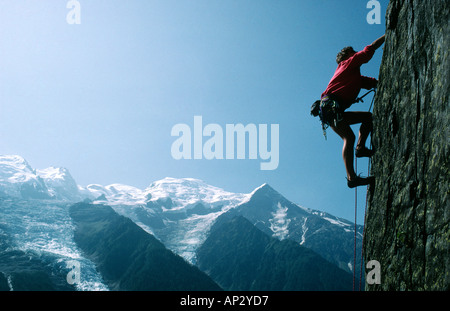 PICTURE CREDIT DOUG BLANE Edd Gdula rock climbing at Les Gaillands Massif du Mont Blanc Chamonix France - Stock Photo