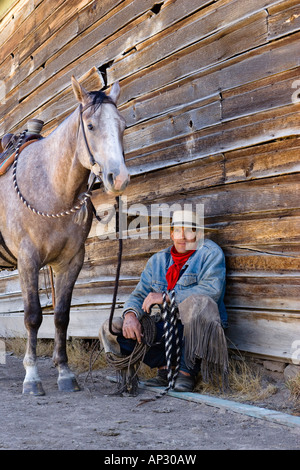 cowboy with horse at barn, wildwest, Oregon, USA - Stock Photo