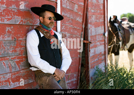 cowboy at barn, wildwest, Oregon, USA - Stock Photo