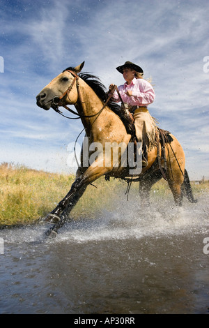 cowgirl riding through water, Oregon, USA - Stock Photo