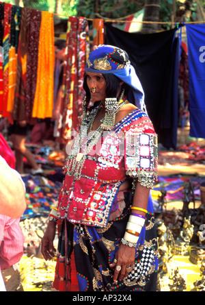 Karnatakan woman at Anjuna Flea Market, Goa, South India - Stock Photo