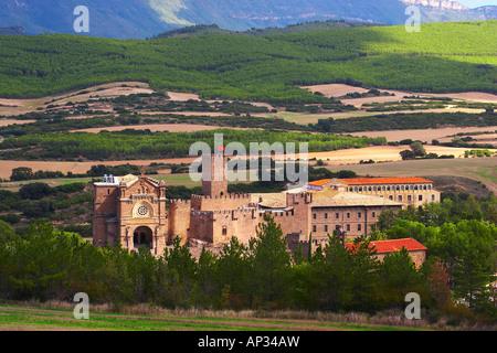 Landscape and mountains with castle, Castillo de Javier, Francisco Javier 1506, near Sangueesa, Navarra, Spain - Stock Photo