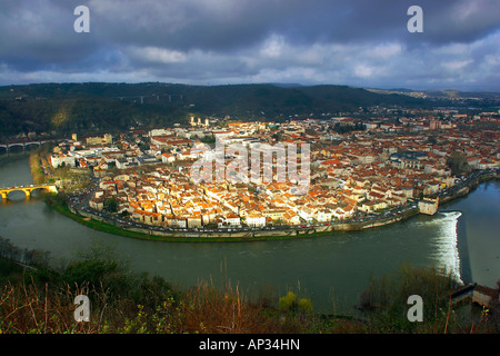 View of the town, city of Cahors from Mont St. Cyr, River Lot valley, Department Lot, France - Stock Photo