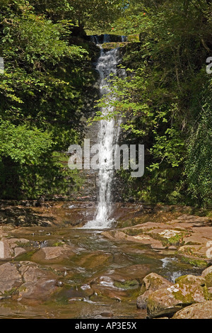 Waterfall on River Caerfanell, Blaen y Glyn, Brecon Beacons National Park, Powys, South Wales, UK - Stock Photo
