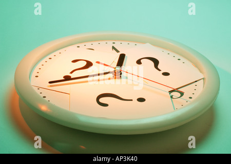 Question Marks on Clock - Stock Photo