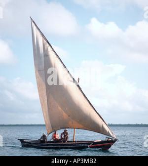 Arab Dhow off Lamu Island, North Coast, Kenya, East Africa - Stock Photo
