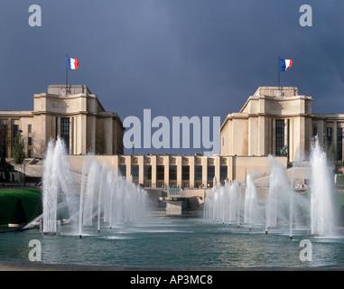Palais de Chaillot just before a thunderstorm, Place du Trocadero, Paris, France - Stock Photo