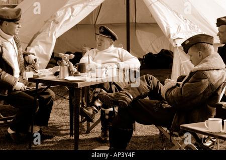 RAF pilots WWII sitting around waiting to scramble sepia toned - Stock Photo