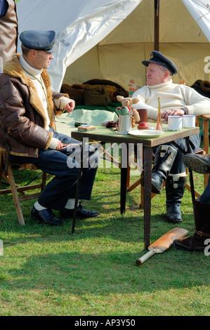 RAF pilots WWII sitting around waiting to scramble Colour - Stock Photo