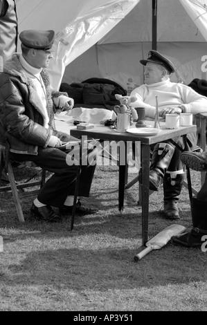 RAF pilots WWII sitting around waiting to scramble Black & White - Stock Photo