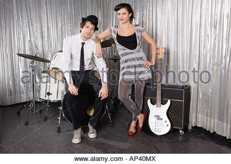 Portrait of a young woman and man - Stock Photo