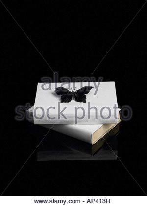 A butterfly on top of pile of books - Stock Photo