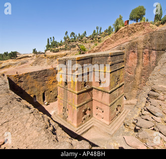 A 2 picture stitch panoramic of the Bete Giyorgis or Church of St. George monolithic church in Lalibela. - Stock Photo