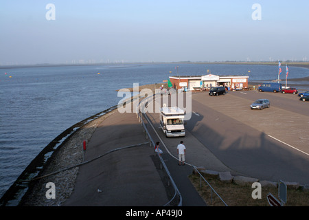 View from the sluice on Eider River to the North Sea - Stock Photo