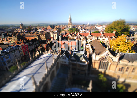 OXFORD, UK. A tilt-shift view of the city centre. 2007. - Stock Photo