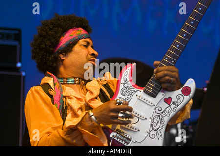 CARLTON POWARD plays tribute to Jimi Hendrix of the SF Summer of Love Revue MONTEREY POP FESTIVAL 2007 CALIFORNIA - Stock Photo