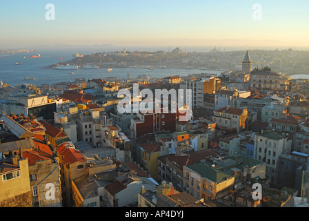 ISTANBUL, TURKEY. An evening view over Beyoglu district from the roof of the Marmara Pera Hotel in Beyoglu. 2007. - Stock Photo