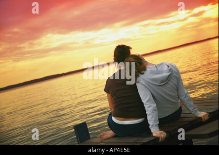 Two girls enjoy the view - Stock Photo