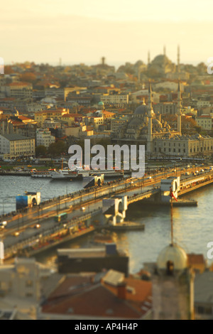 ISTANBUL, TURKEY. A tilt-shift view of the Galata Bridge, Golden Horn and Eminonu district from Beyoglu. 2007. - Stock Photo