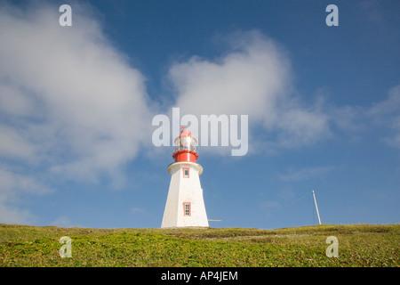 Point Riche Lighthouse, Port au Choix, Newfoundland, Canada. - Stock Photo