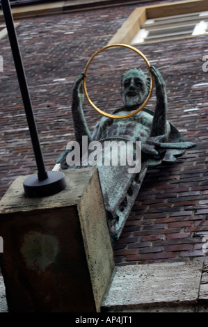 Colse to the Marketplace in Bremen Germany. Sculpture on the wall - Stock Photo