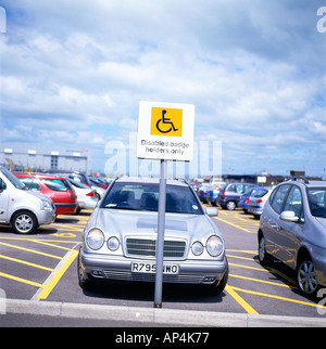 Disabled parking sign at Cardiff International Airport Wales UK  KATHY DEWITT - Stock Photo