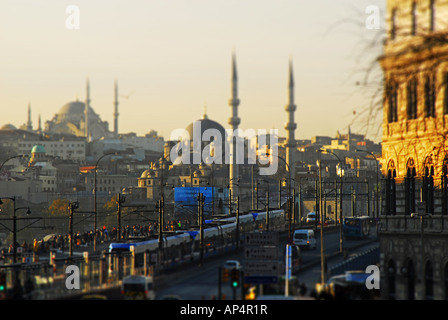 ISTANBUL, TURKEY. A tilt-shift view over the Galata Bridge from Karakoy to the Yeni Mosque and Eminonu district. - Stock Photo
