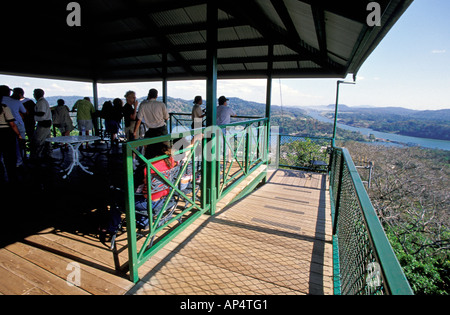 Central America, Panama, Soberania National Park, Gamboa National Park. Rainforest observation tower, canal view - Stock Photo