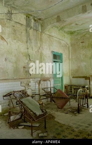 Derelict room in the Canfranc Estación  station Spain - Stock Photo