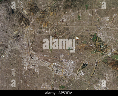 aerial map view above Los Angeles California - Stock Photo