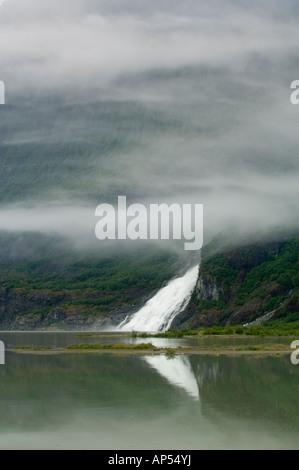 Nugget Falls flows into Mendenhall Lake near Mendenhall Glacier, Juneau, Alaska USA - Stock Photo