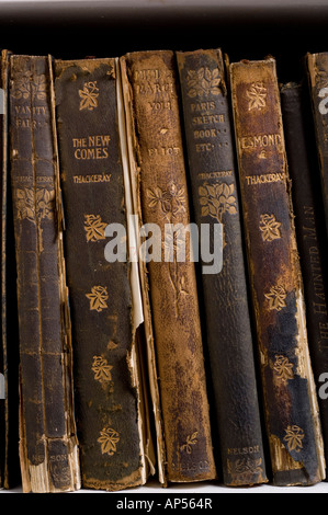 Frayed antique books. - Stock Photo