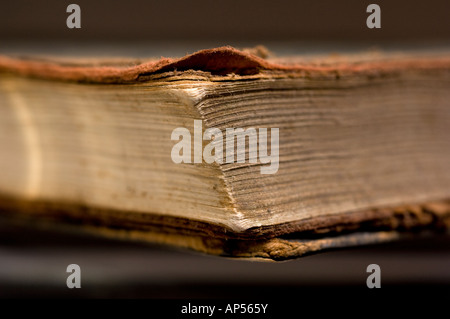 Frayed corner of antique book. - Stock Photo