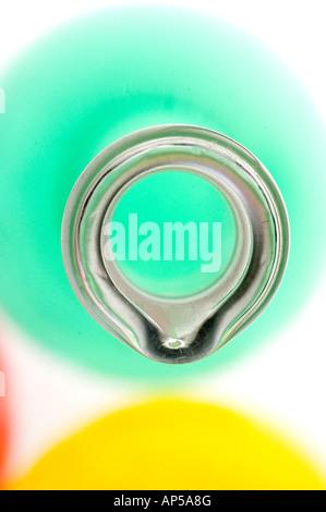 Close up of laboratory flasks w. colored liquids. - Stock Photo