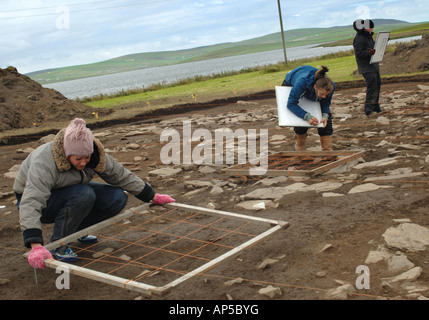 Archaeologists digging a new site at the Ness of Brodgar near the ring of Brodgar standing stones Mainland Orkney - Stock Photo