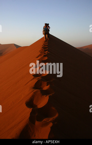 Tourists ascend Dune 45 - Stock Photo