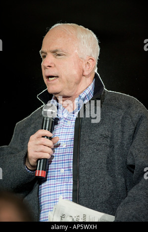 12 January 2008 US Senator and Republican Presidential candidate John McCain at a town hall in Warren Michigan USA - Stock Photo