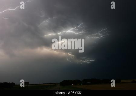 ©David Howells 2007 Tel +1 305 778 1846 Fork lightning during a severe thunderstorm in Kansas. - Stock Photo