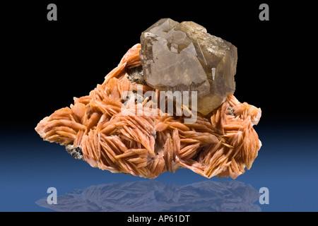 Cerussite on Barite Mibladden Morocco - Stock Photo