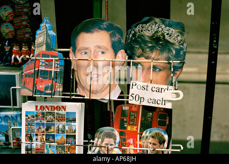 Postcards of the British Royal family on sale in London - Stock Photo
